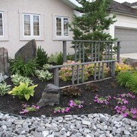 Small front yard landscaping including flower garden ideas.