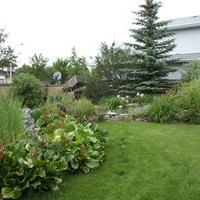 Backyard landscaping for a mature lot with a garden design plan including beautiful flower garden ideas.