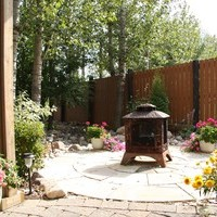 Estate landscaping including walkways, patio design and flower garden ideas.