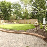Mature lot garden design plan including patio design and flower garden ideas.