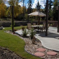 Acreage landscaping design including patio design with retaining walls and garden pictures.