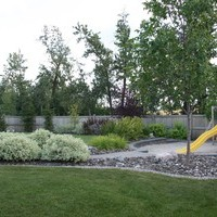Estate landscaping for big backyards with patio design, walkways and flower garden ideas.