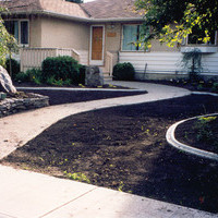Redoing the yard, utilizing Earthworm Landscape Design's plan - a beautiful bungalow landscaping garden plan including walkways, patio design and flower garden ideas.